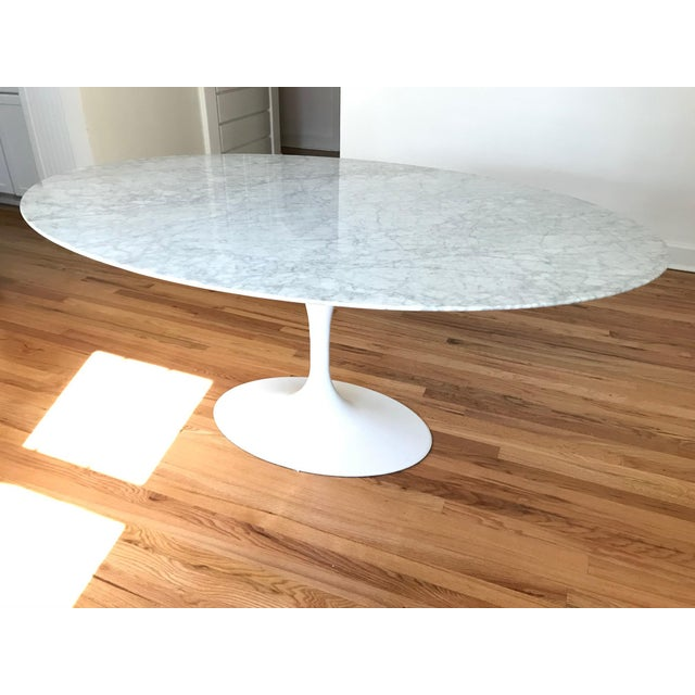 White Saarinen Style Oval Marble Tulip Dining Table For Sale - Image 8 of 8
