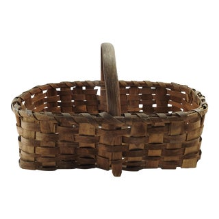 Vintage Splint Gathering Basket For Sale