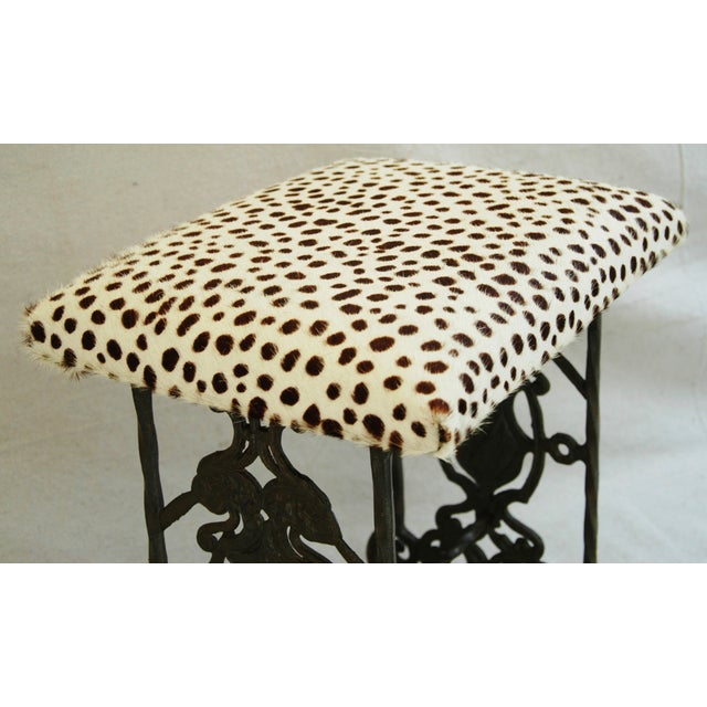 1930s Iron & Cheetah Spotted Cowhide Bench - Image 7 of 11