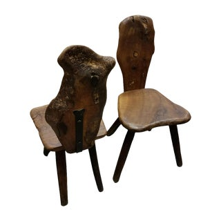 French Folk Art Side Chairs in Olive Wood, C.1970 Paris, a Pair