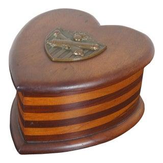 Antique Mahogany Heart Jewelry Trinket Box For Sale