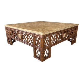 Rattan Chippendale Fretwork Faux Marble Coffee Table For Sale