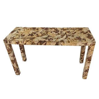 1970s Hollywood Regency Upholstered Parsons Console Table For Sale