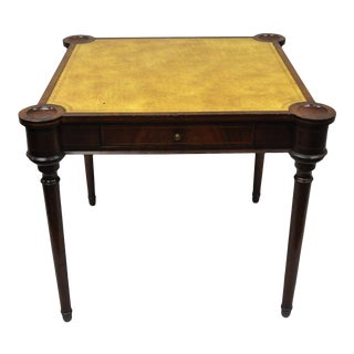Vintage English Regency Style Yellow Leather Top Card Game Table
