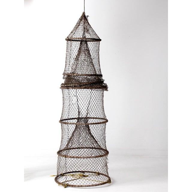 Nautical Vintage Fyke Fishing Net For Sale - Image 3 of 9