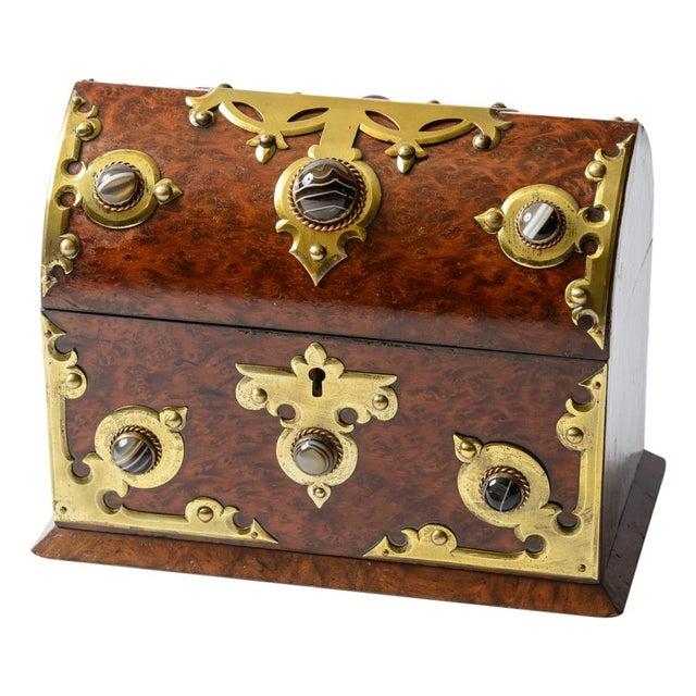 Metal English Yew Wood Box For Sale - Image 7 of 7