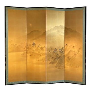 Gold Leaf Hand-Painted Chinoiserie Screen For Sale