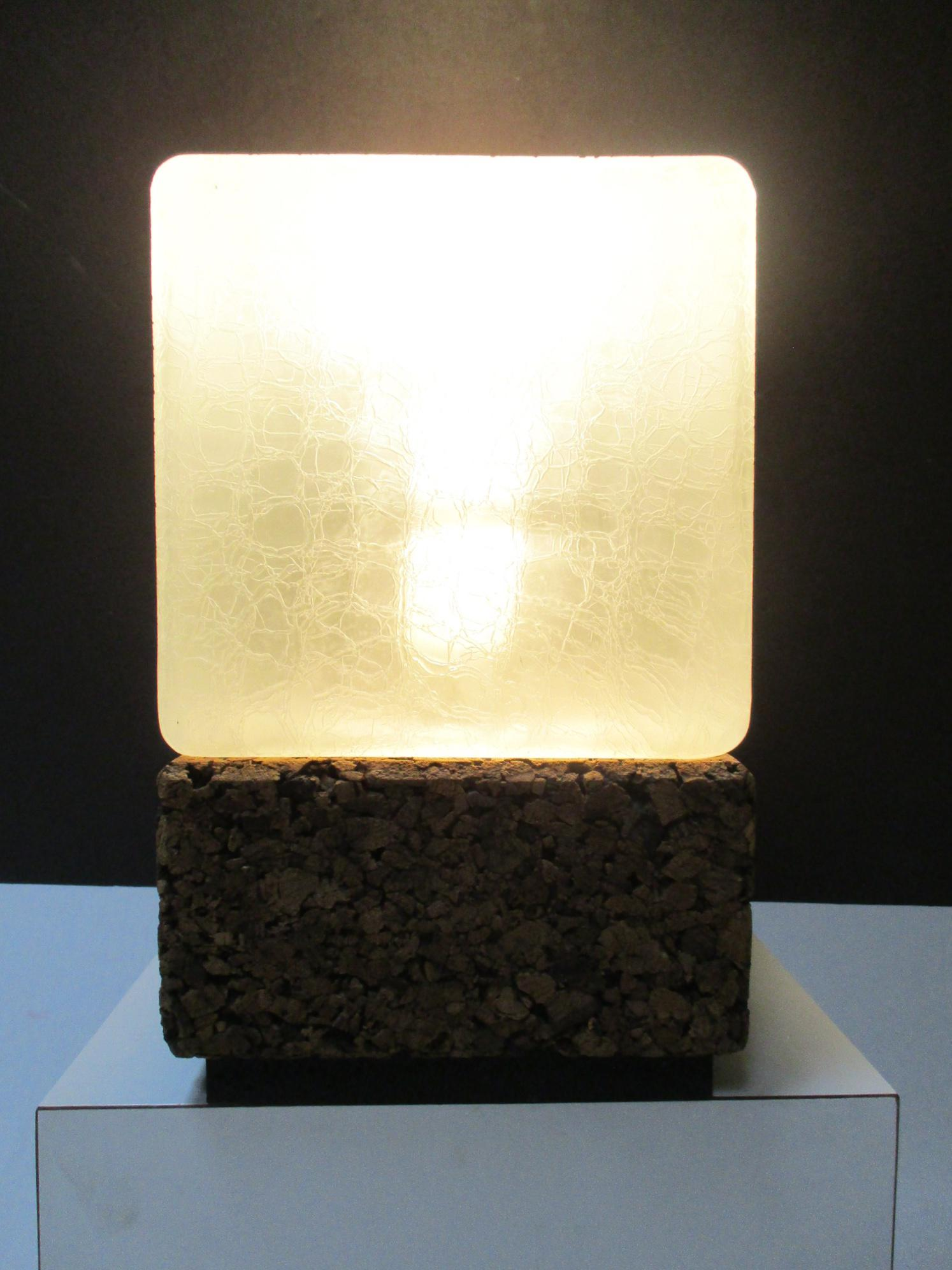 Mid Century Modern Cork Cube Glass Modernist Table Lamp   Image 4 Of 10