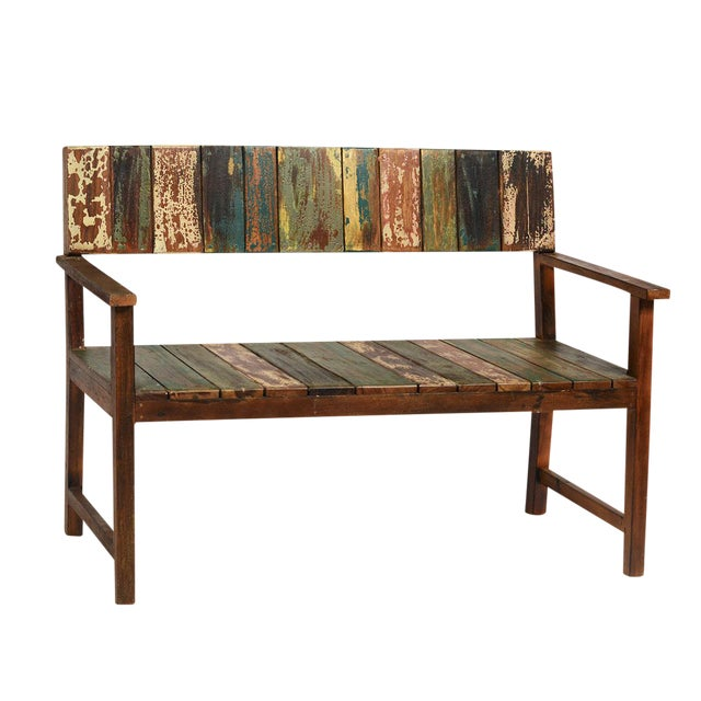 Reclaimed Boat Wood Bench - Image 1 of 2