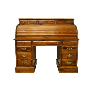 20th Century Country Kling Colonial Solid Pine Roll-Top Desk For Sale
