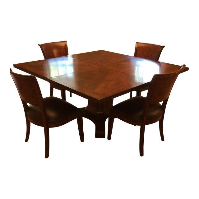 Square Walnut Pedestal Dining Set - Image 1 of 5