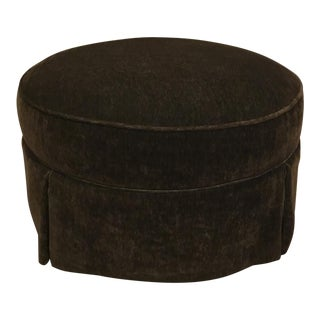 Sherrill Co. Transitional Chocolate Brown Mohair Skirted Ottoman For Sale