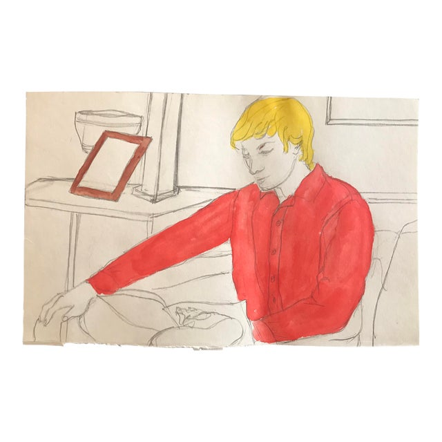 1980s Inga-Britta Mills Man in Red Shirt Portrait Drawing For Sale
