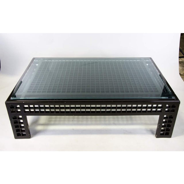 Contemporary Contemporary Glass Inset Lattice Form Coffee Table For Sale - Image 3 of 11