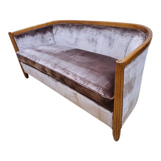 Art Deco French Curved Sofa For Sale