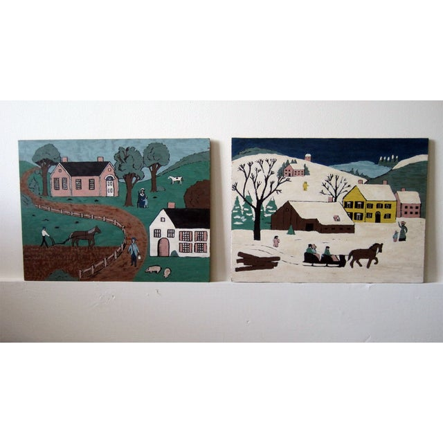 Folk Art Village Scenes - Pair - Image 2 of 4