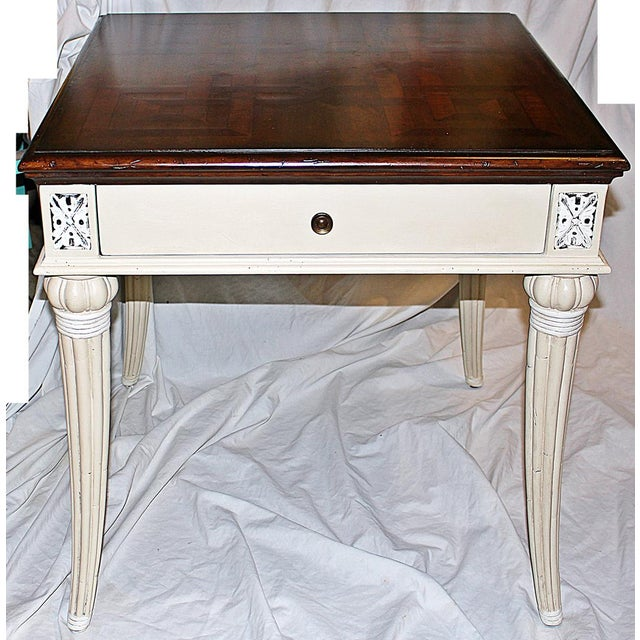 White Parquetry-Top Painted Side-Table For Sale - Image 8 of 8