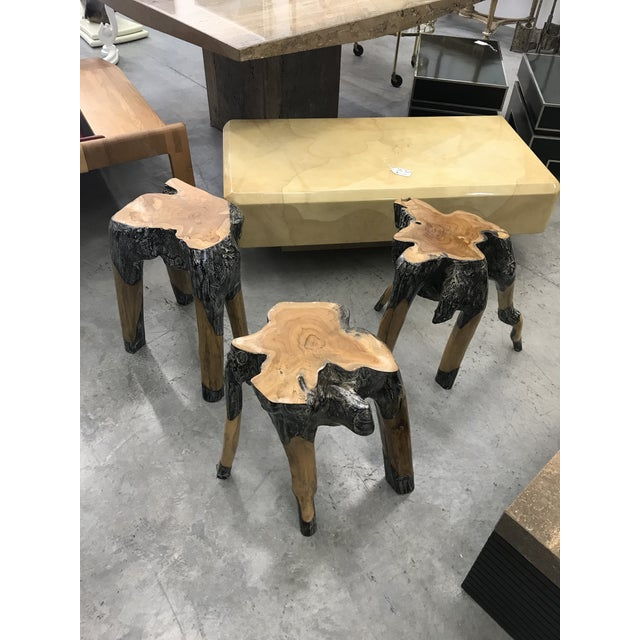 Wood Live Edge Wood Stools - Set of 3 For Sale - Image 7 of 7