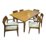 Image of Vintage Mid Century Modern Walnut Dining Set - 7 Pieces For Sale