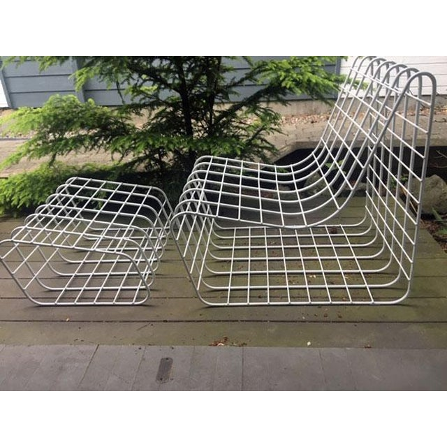 1970s 1970s Mod Wire Lounge Chair With Ottoman For Sale - Image 5 of 13