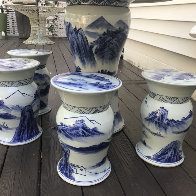 Asian Blue & White Ceramic Game Table Set For Sale - Image 3 of 10