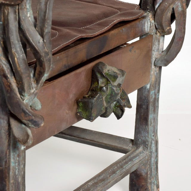 Metal Brutalist Sculptural Bronze Arm Chair Signed Zavala, Game of Thrones Era For Sale - Image 7 of 11