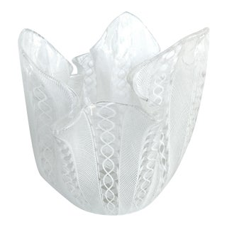 Venini Latticino Glass Handkerchief 'Fazzoletto' Vase, Circa 1950 For Sale