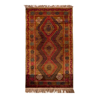 1950s Vintage Baluch Tribal Rug Brown Red Persian Tribal Piece For Sale