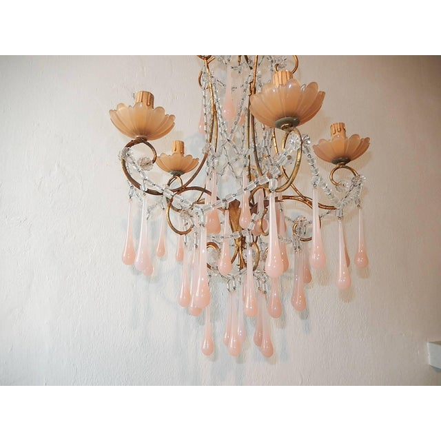 Pink French Crystal Pink Bubble Gum Opaline Drops Bobeches and Beads Chandelier For Sale - Image 8 of 10