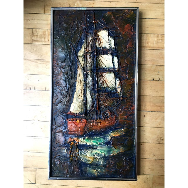 Resin 1960s Figurative Painting of Impasto Sailing Ship For Sale - Image 7 of 7