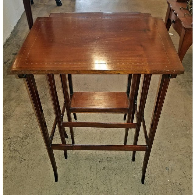 Early 20c British Mahogany and Inlaid Nest of Tables For Sale In Dallas - Image 6 of 13