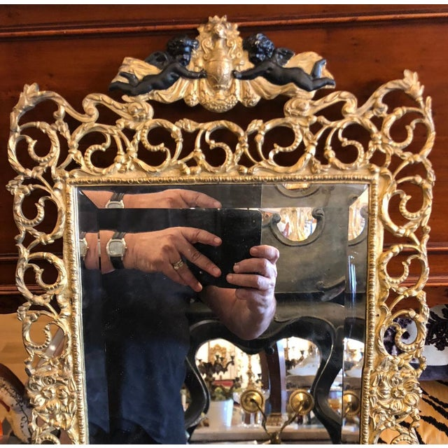 Antique French Dore Bronze Reticulated Mirror W Ebonized Angels