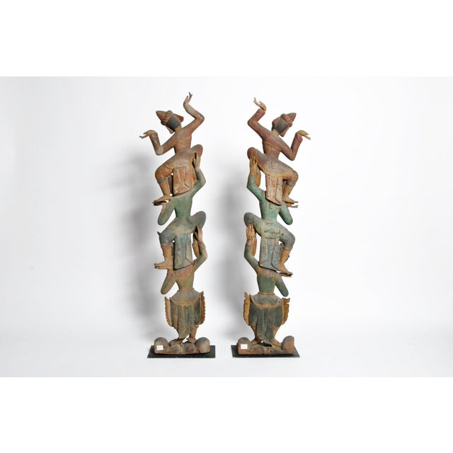 Asian Hand-Carved Thai Dancers For Sale - Image 3 of 11