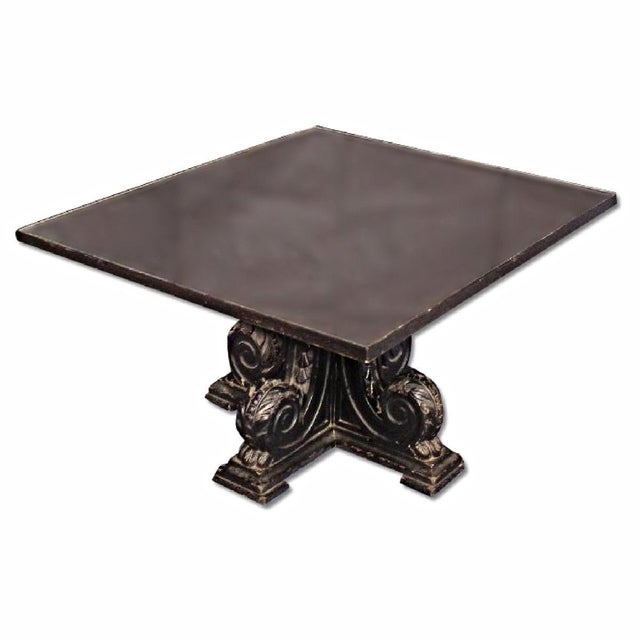 Rare Black Carved Mirror Glass Top Antique Coffee Table