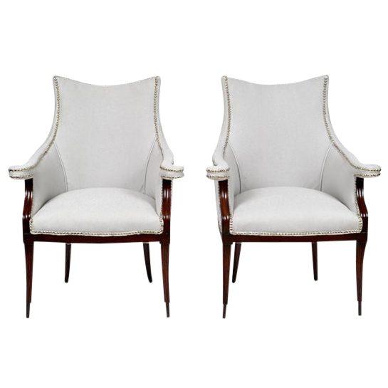Vintage Art Deco Club Armchairs- a Pair For Sale