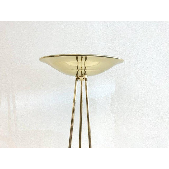 Gold Pair of Polish Brass Torchiere Floor Lamps by Casella For Sale - Image 8 of 10