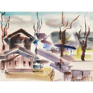 'Old Carmel Village' by Dora Masters, 1950's Woman Artist, Bay Area Abstraction, San Francisco Art Association For Sale
