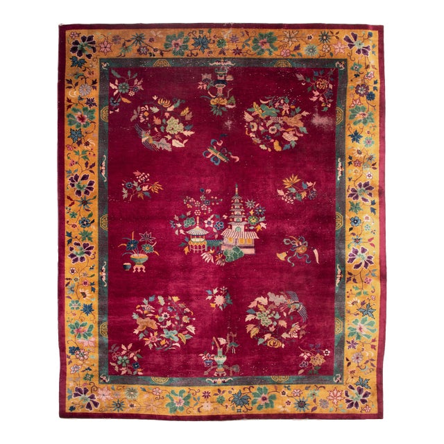 Magenta Chinese Deco Carpet For Sale