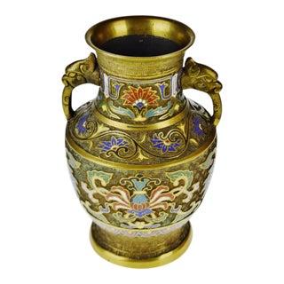 Vintage Japanese Brass Champleve Urn Shaped Vase with Figural Handles