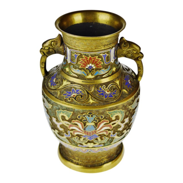 Vintage Japanese Brass Champleve Urn Shaped Vase with Figural Handles For Sale