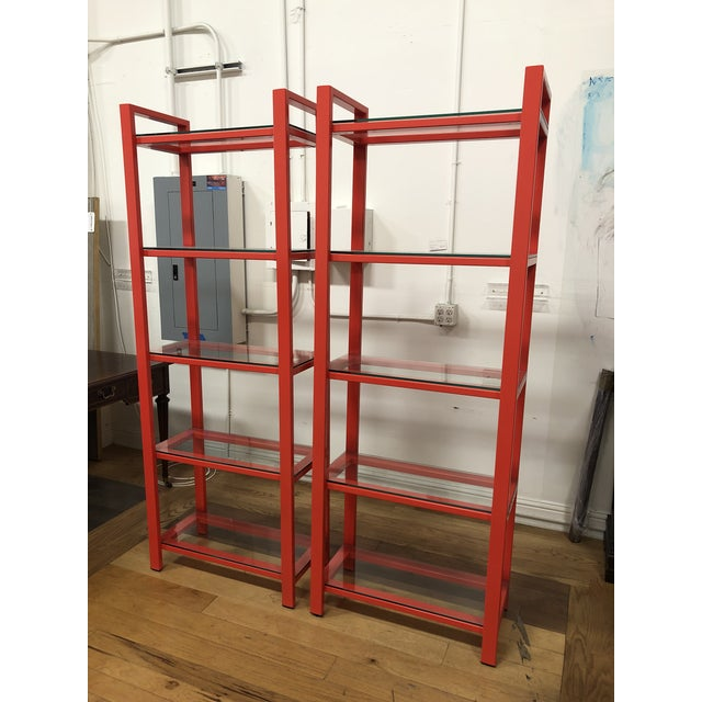 Contemporary Pair of Crate & Barrel Pilsen Paprika Bookcases For Sale - Image 3 of 10