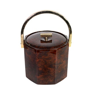 1960s Vintage Georges Briard Faux Tortoiseshell & Gold Hexagonal Brass Ice Bucket For Sale