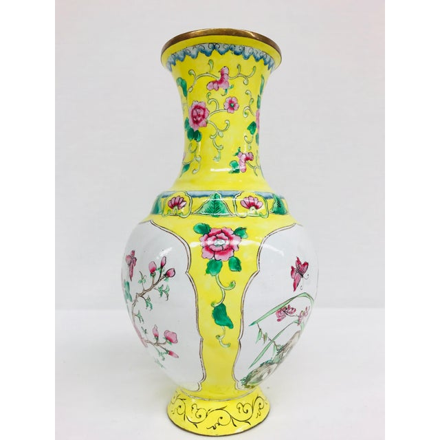 Yellow Cloisonné Floral Vase - Image 3 of 12