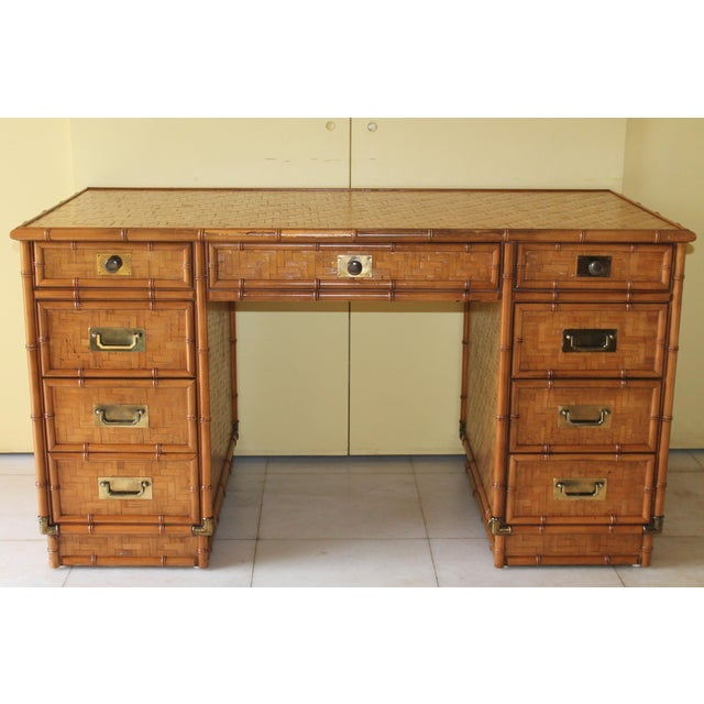 1960s Vintage Bamboo Campaign Style Writing Desk For Sale - Image 13 of 13