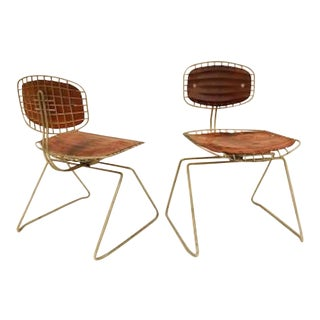 Michel Cadestin Pair of Modernist Chairs in Steel Wire and Leather, Model Beaubourg