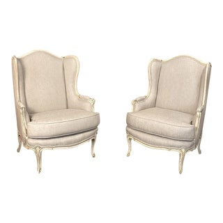 Pair Antique French Louis XV Painted Bergeres ~ Newly Upholstered For Sale