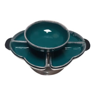 Art Deco Blue Lazy Susan Serving Platter - 6 Pieces For Sale
