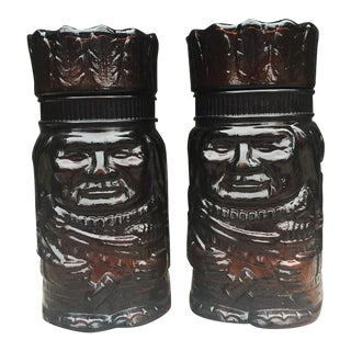 Glass Native American Style Chief Humidors - A Pair