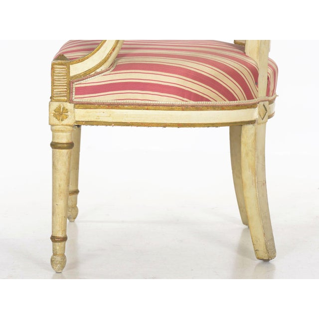 Set of Four Neoclassical White-Painted French Accent Arm Chairs, 19th Century For Sale - Image 9 of 13
