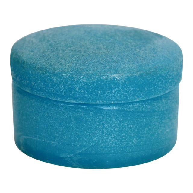 Textured Blue Opaline Glass Lidded Box - Image 1 of 5